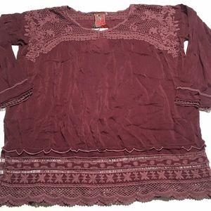 JOHNNY WAS Purple Crochet Blouse Size Small